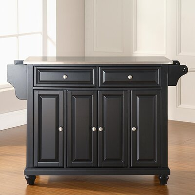 Goreville Kitchen Island with Stainless Steel Top Base Finish: Black, Top Finish: Stainless Steel