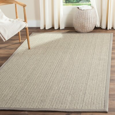 Hand-Woven Gray Area Rug Rug Size: Rectangle 9 x 12