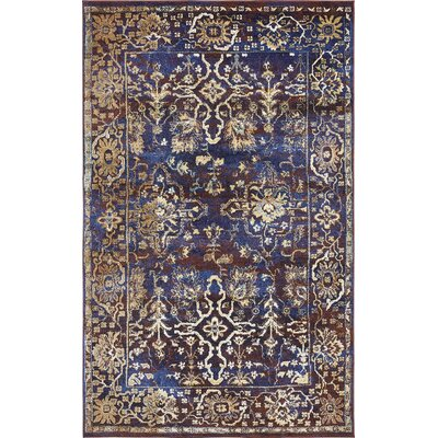 Rennick Beige/Red/Dark Blue Area Rug Rug Size: 5 x 8