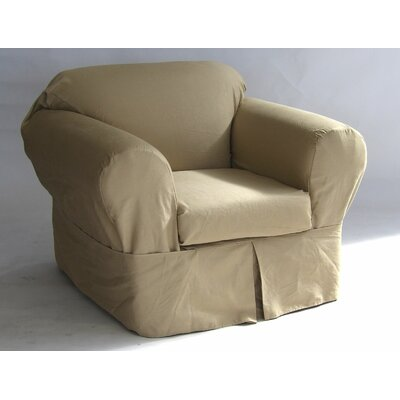 Box Cushion Armchair Slipcover Upholstery: Khaki