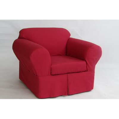 Armchair Skirted Slipcover Upholstery: Red