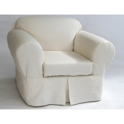 Box Cushion Armchair Slipcover Upholstery: Natural