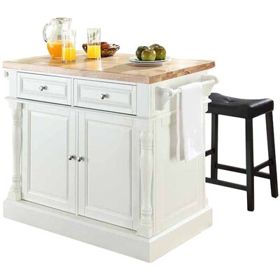 Lewistown 3 Piece Kitchen Island Set with Butcher Block Top Base Finish: White