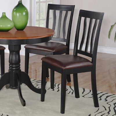 Woodward Rubberwood Side Chair (Set of 2) Chair Finish: Black and Cherry