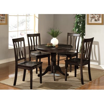 Caledonia 5 Piece Dining Set Chair Upholstery: Faux Leather, Finish: Oak