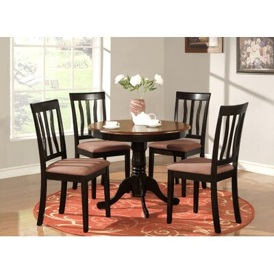 Woodward Traditional 5 Piece Dining Set Finish: BlackCherry, Chair Upholstery: Microfiber