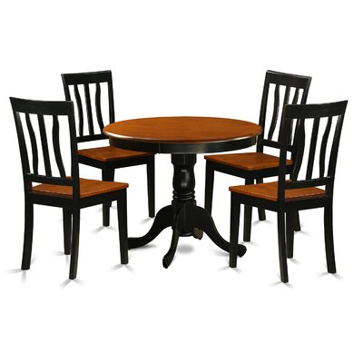 Woodward Traditional 5 Piece Dining Set Finish: Black and Cherry, Chair Upholstery: Non-Upholstered Wood
