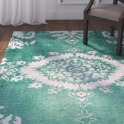 Collette Griggs Hand-Knotted Emerald Area Rug Rug Size: 3 x 5