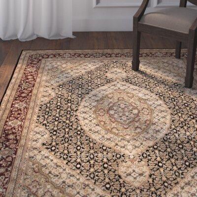 Whitman Hand Woven Wool Black Indoor Area Rug Rug Size: 86 x 116