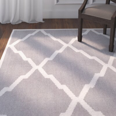 Brambach Hand-Woven Wool Grey/Ivory Area Rug Rug Size: Rectangle 4 x 6