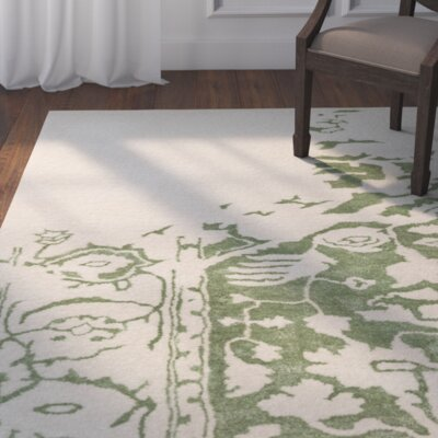 Angeles Hand Tufted Wool Green/Gray Area Rug Rug Size: 4 x 6