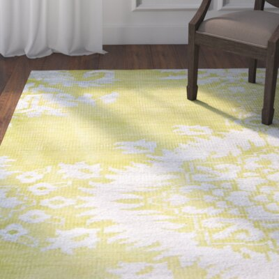 Collette Hand Woven Cotton Chartreuse Area Rug Rug Size: Runner 26 x 12
