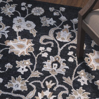 Lamothe Hand-Tufted Black Area Rug