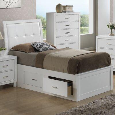 Acres Upholstered Storage Platform Bed Size: Full, Finish: White