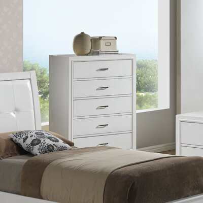 Acres 5 Drawer Chest Finish: White
