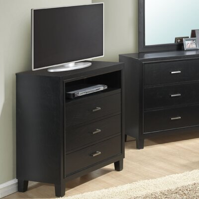 Hoytville 3 Drawer Media Chest Color: Black