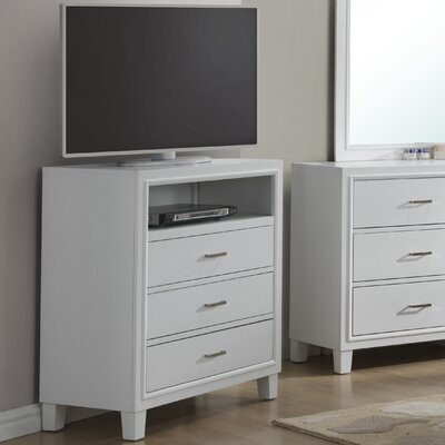 Hoytville 3 Drawer Media Chest Color: White