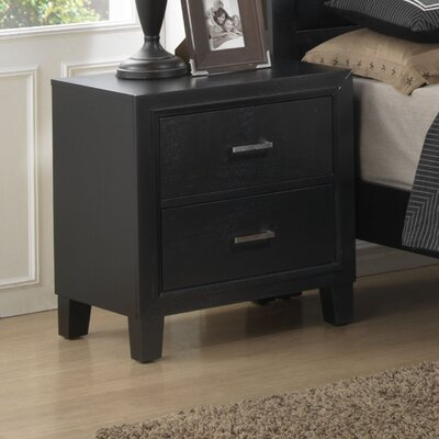 Hoytville 2 Drawer Nightstand Finish: Black