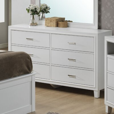 Acres 6 Drawer Dresser Finish: White