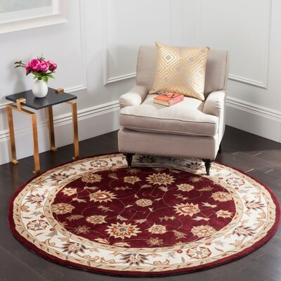 Hausmann Hand-Hooked Red/Ivory Area Rug Rug Size: Round 6 x 6