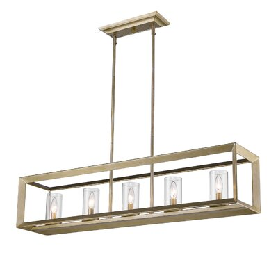 Thorne Modern 5-Light Kitchen Island Pendant Finish: White Gold, Shade Color: Clear Glass