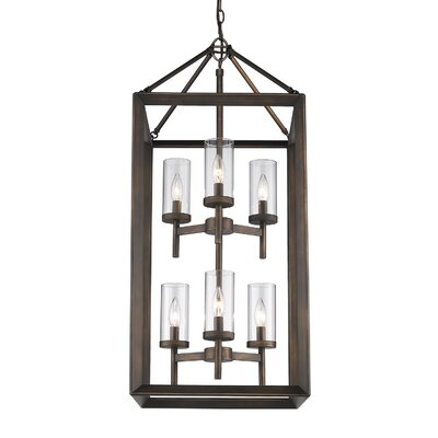 Coxsackie 6-Light Hanging Foyer Pendant Finish: Gunmetal Bronze, Shade Color: Opal
