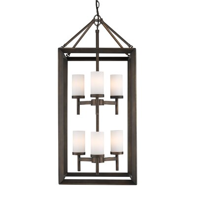 Thorne 6-Light Hanging Foyer Pendant Finish: Gunmetal Bronze, Shade Color: Opal