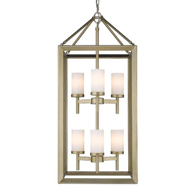 Coxsackie 6-Light Hanging Foyer Pendant Finish: White Gold, Shade Color: Opal