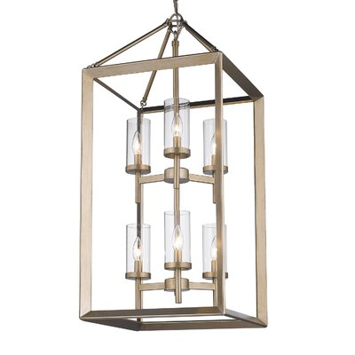 Thorne 6-Light Hanging Foyer Pendant Finish: White Gold, Shade Color: Clear