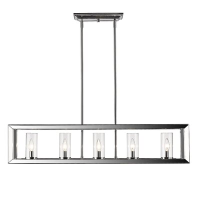 Thorne Modern 5-Light Kitchen Island Pendant Finish: Chrome, Shade Color: Clear Glass