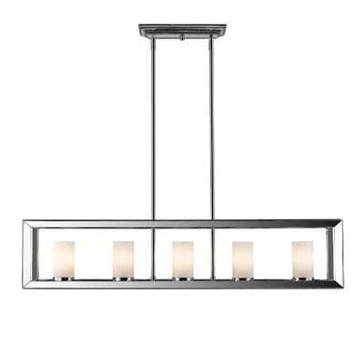 Thorne Modern 5-Light Kitchen Island Pendant Finish: Chrome, Shade Color: White Glass