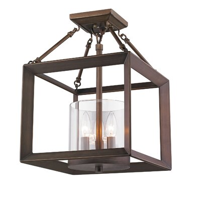 Ginsberg 3-Light Semi Flush Mount Finish: Gunmetal Bronze