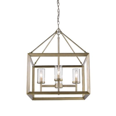 Coxsackie 4-Light Hanging Foyer Pendant Shade Color: Clear Glass, Finish: White Gold