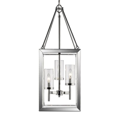 Thorne 3-Light Chrome Foyer Pendant Shade Color: Clear