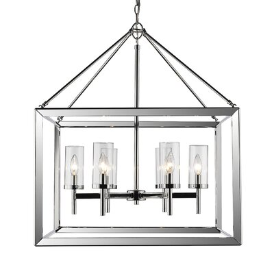 Coxsackie 6-Light Glass Shade Foyer Pendant Shade Color: Clear
