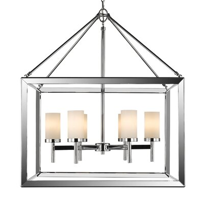 Thorne 6-Light Glass Shade Foyer Pendant Shade Color: Opal