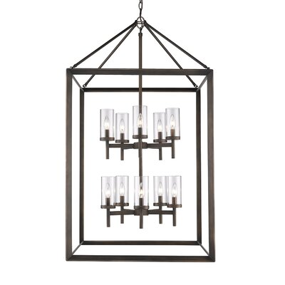Coxsackie 10-Light Foyer Pendant Finish: Gunmetal Bronze, Shade Color: Clear
