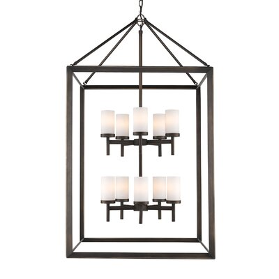 Coxsackie 10-Light Foyer Pendant Finish: Gunmetal Bronze, Shade Color: Opal