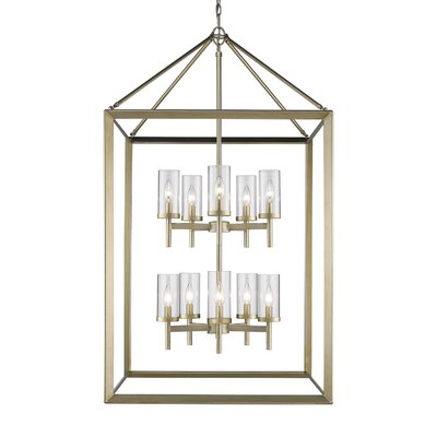 Thorne 10-Light Foyer Pendant Finish: White Gold, Shade Color: Clear
