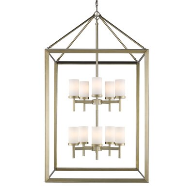 Thorne 10-Light Foyer Pendant Finish: White Gold, Shade Color: Opal