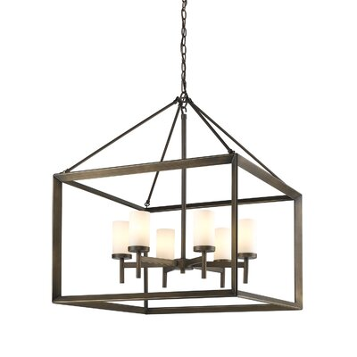 Thorne 6-Light Foyer Pendant Finish: White Gold, Shade Color: White Glass