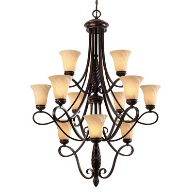 Hoopeston 12-Light Shaded Chandelier