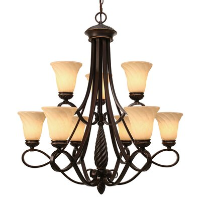 Hoopeston 9-Light Shaded Chandelier