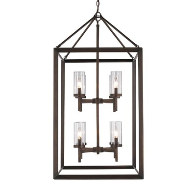 Coxsackie 8-Light Foyer Pendant Shade Color: Clear, Finish: White Gold