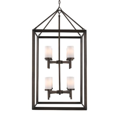 Thorne 8-Light Foyer Pendant Finish: Gunmetal Bronze, Shade Color: Opal