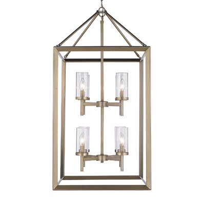 Thorne 8-Light Foyer Pendant Finish: White Gold, Shade Color: Clear