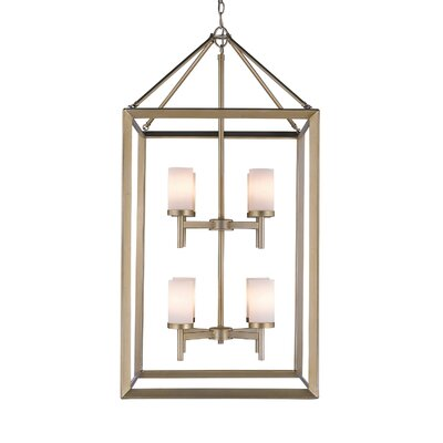 Coxsackie 8-Light Foyer Pendant Finish: White Gold, Shade Color: Opal