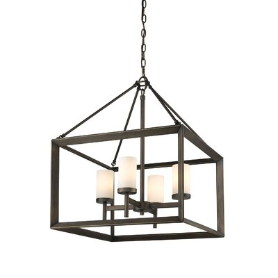 Coxsackie 4-Light Hanging Foyer Pendant Shade Color: Clear Glass, Finish: Gunmetal Bronze
