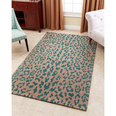 Kingston-upon-Hull Hand-Tufted Teal Area Rug Rug Size: 5 x 8
