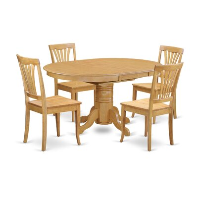 Attamore 5 Piece Dining Set Finish: Oak, Upholstery: Wood Seat